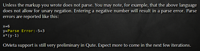 An OMeta parse error in Qute